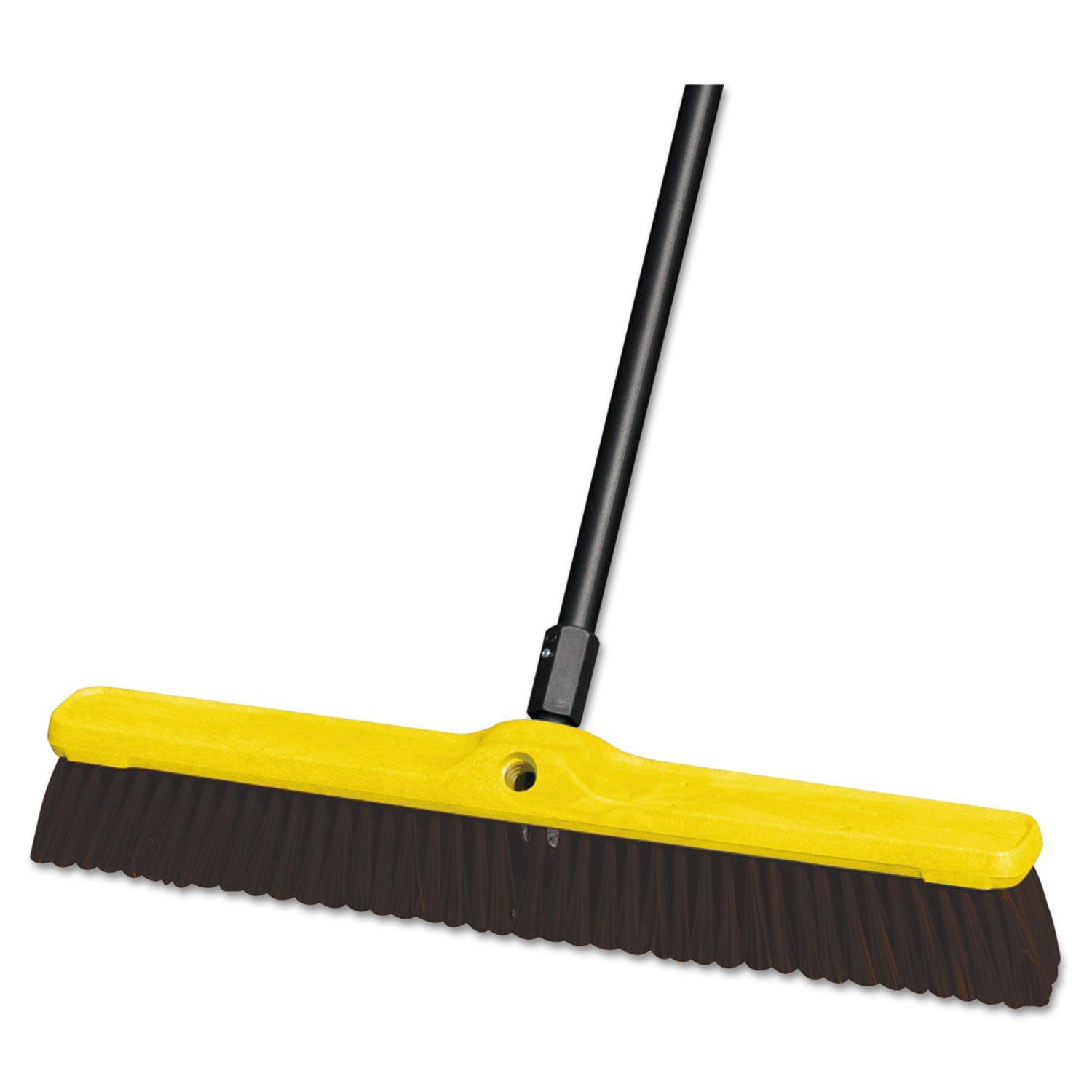 Rubbermaid Commercial Heavy Duty Floor Sweep, 24'' x 3'', Maroon, Polypropylene, 12/Carton