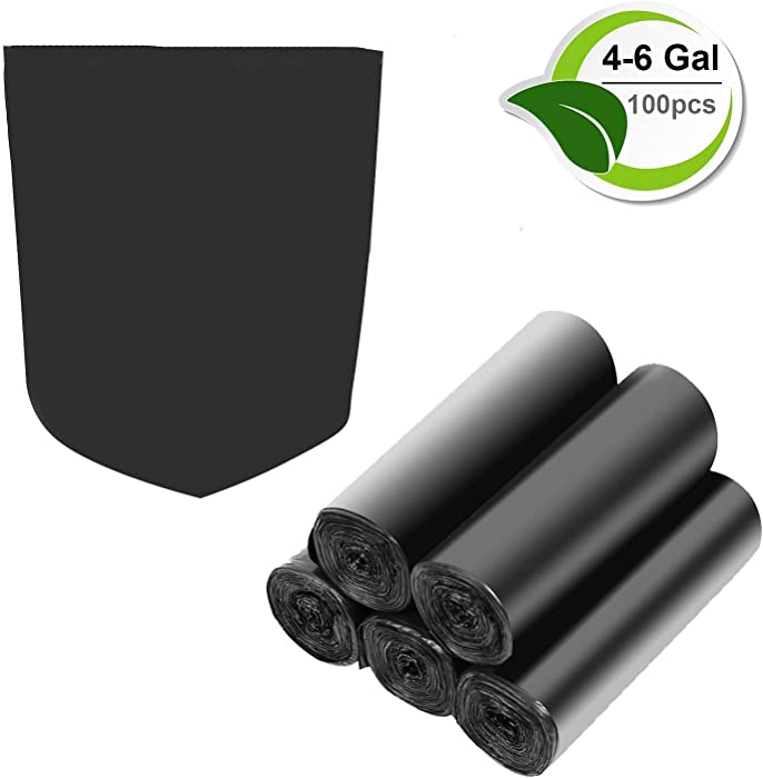 4-6 Gallon Recycled Trash Bags Biodegradable Trash Bags Compostable Garbage bags Recycling bags Degradable Waste basket Liners Bags for Bathroom Kitchen Bedroom Living Room Office (Black, 100 Counts)