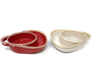 Set of 2 Cream and Red Stoneware Soup & Side Bowls by Unique's Shop