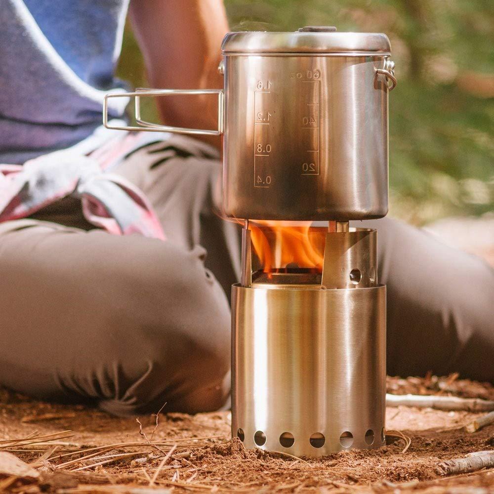 Keine Batterien oder Fl/üssigkanister erforderlich Burns Twigs Camping KEZIO Leichter Holzofen f/ür 2-4 Personen Survival Kompaktes Campingkocher-Kit f/ür Backpacking