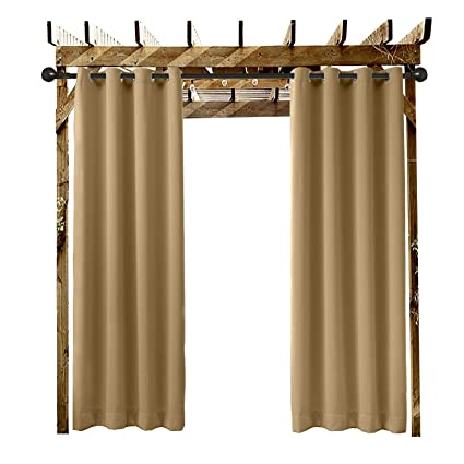 Amazon Com Extra Wide Outdoor Curtain Wheat 200 W X 102 L