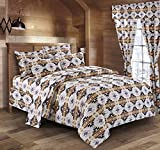 Southwest Design (Navajo Print) White 4 piece Comforter Set Queen Size, Design #16112