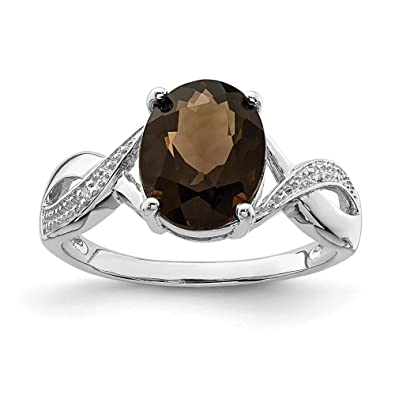 Smoky Quartz Silver Ring Gemstone Gift For Her Ring Size 925 Sterling Silver