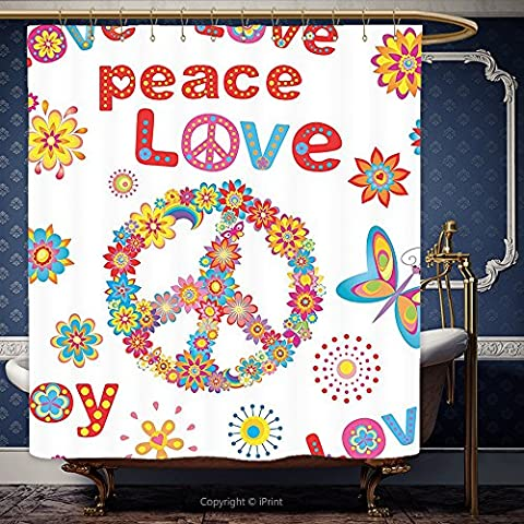 iPrint 66x72 Inch Shower Curtain 1960S Decorations Collection Flower Power Sunlights Sunny Love Peace Joy Floral Buttery Spring Festival Wreath Design 00045 Polyester Bathroom Accessories Home - Seaside Dreams Panel Bed