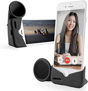 Bone Horn Stand Cell Phone Stand with Acoustic Sound Amplifier Audio Dock Portable Speaker Desktop Cradle for iPhone 11 Pro/XS/X / 8/7 / 6 / 6S (Black)