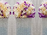 Efavormart Glittering Faux Diamond Dazzling Faux Rhinestone Mesh Ribbon Wrap for Arts and Crafts 4.5x10 yards/roll Silver