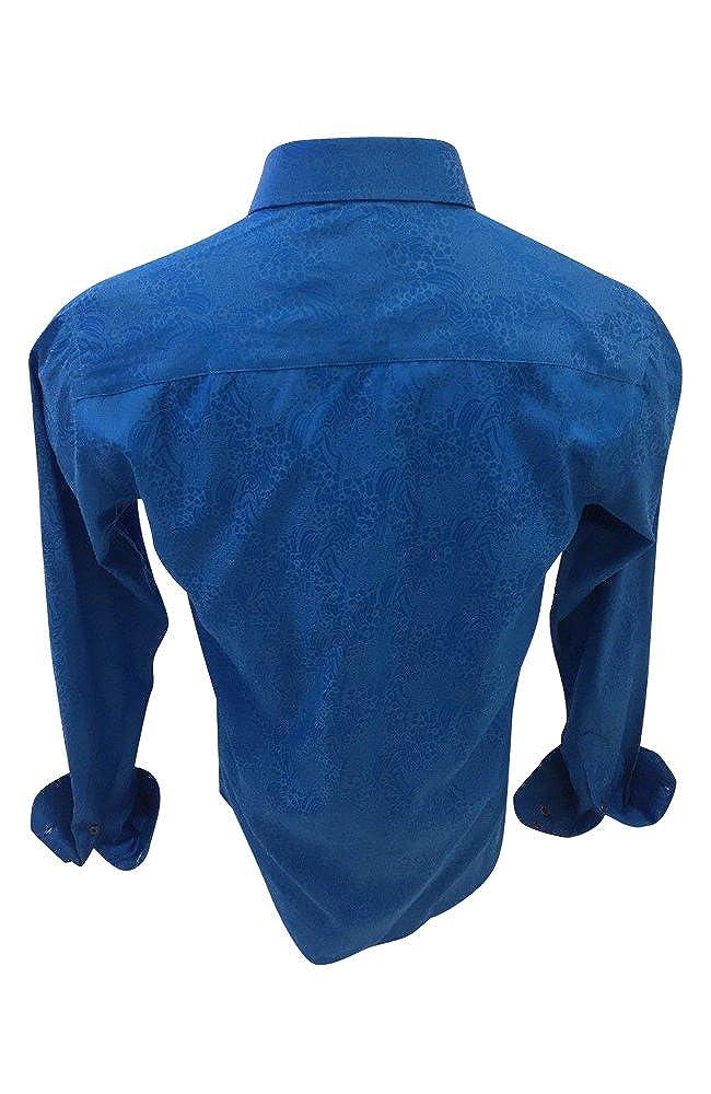 Mens Barabas El Chapo Designer Woven Dress Shirt Blue Colorful Floral Paisley Print Button Up Classic Fit 2693