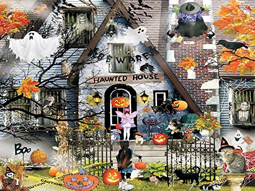 Zimal DIY Diamond Embroidery Halloween Haunted House 5D Diamond Painting Full Mosaic Picture of Cross-Stitch 11.8 x 15.8 Inch]()