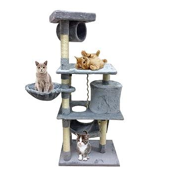 Feketten rascador Gato árbol, 141 cm Cat Tree con 3 Niveles, afila uñas Juguete para Gatos, Gris: Amazon.es: Productos para mascotas