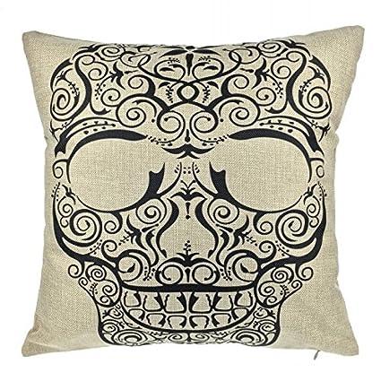 Amazon.com: Ottery Lino y Algodón cráneo almohada cubierta ...