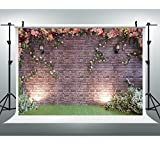 Maijoeyy 7x5ft Flower Backdrop Photography Backdrop Brick Wall Background Photography Props Wedding Backdrop for Picture HJ02193