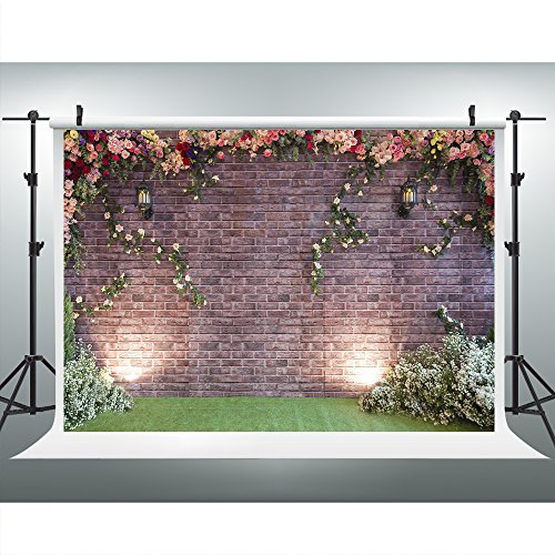 7x5ft Photography Backdrop Brick Wall Background Flower Photo Backdrop Photography Props HJ02193 (Backdrop Wall)