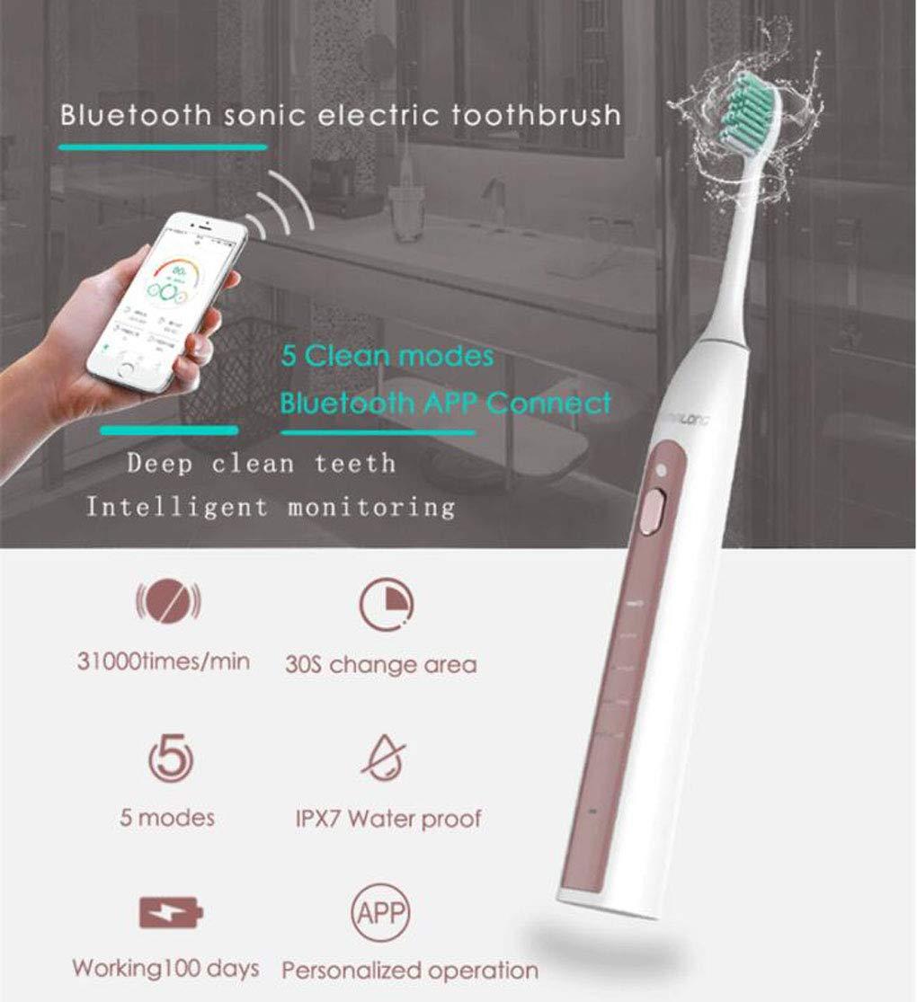 DUABOBAO Cepillo de Dientes eléctrico Recargable, teléfono móvil Bluetooth App Control Inteligente Sonic Electric Cepillo de Dientes Adultos niños,Silver: ...