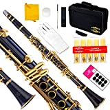 Glory B Flat Clarinet with Second Barrel, 11reeds,8 Pads cushions,case,carekit and more~Dark Blue with Gold keys