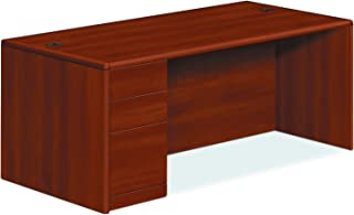 product image for HON 10788LCO 10700 Series Single Pedestal Desk, Full Left Pedestal, 72 x 36 x 29 1/2, Cognac