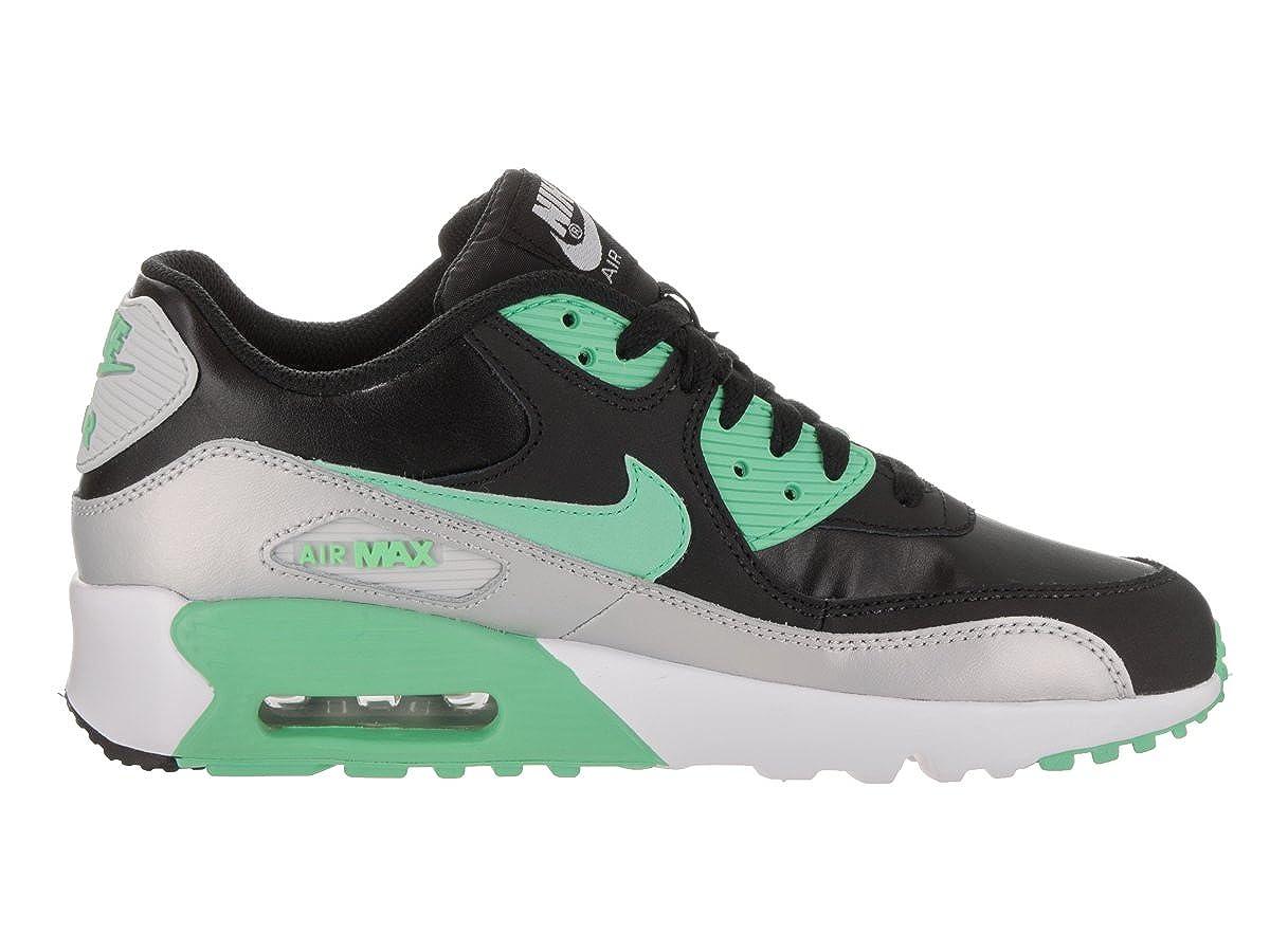 buy online 23b1a febee Amazon.com   NIKE Kids Air Max 90 LTR (GS) Black Green Glow MTLC Platinum  Running Shoe 6 Kids US   Fashion Sneakers