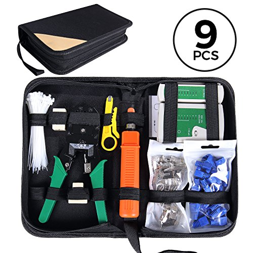 Crimping Tool Kit (SGILE Pro 9/1 Network Tool Repair Kit, Ethernet LAN Cable Tester Computer Maintenance Coax Crimper Tool for RJ-45/11/12 Cat5/5e with Connector Accessories)