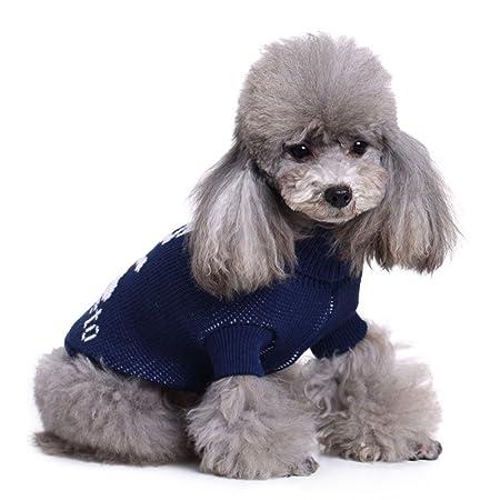 2 patrones de búho de punto jersey de perro, azul vacaciones prendas de punto prendas de vestir exteriores de cuello alto chaleco de perro ropa para perros ...