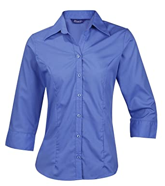 5e92fc50e Ladies Womens Blouse Shirt Top 3/4 Length Sleeve Work Office Formal Soft  Collar: Amazon.co.uk: Clothing