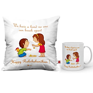 Indi ts Sister Quote Printed Micro Satin Fibre Ceramic Coffee Mug and Cushion Cover 12X12 Inch with Filler Rakhi for Men Boys White