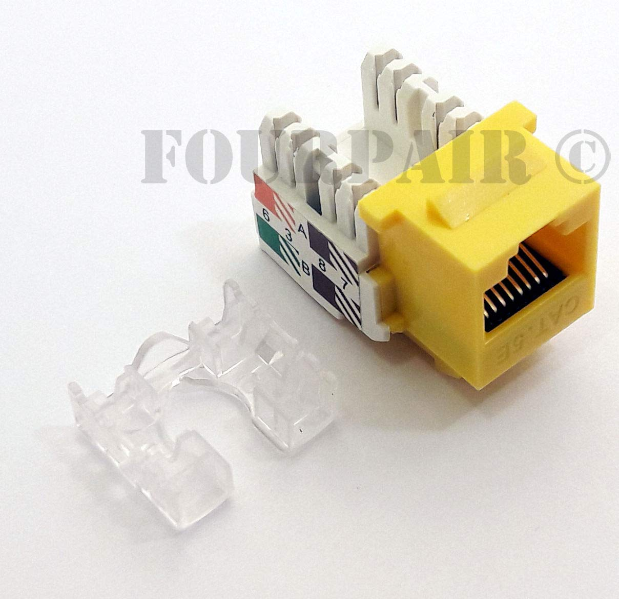 Yellow 3 Pack Lot CAT5e RJ45 110 Punch Down Keystone Modular Snap-In Jacks