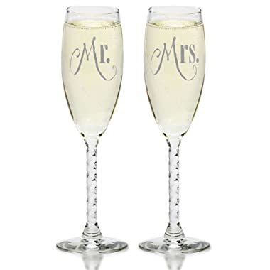 Mr. & Mrs. Silver Champagne Flutes With Gift Box - Wedding Glasses For Bride & Groom - Toasting Gift Sets - For Couples - Engagement, Wedding, Anniversary
