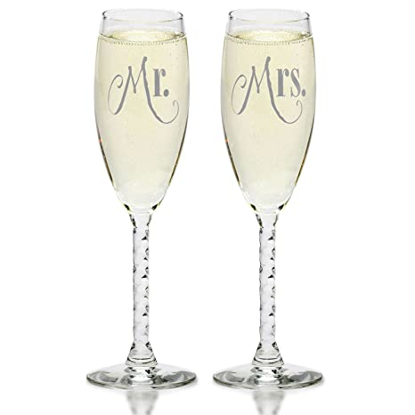 8126a5dab64 Mr.   Mrs. Silver Champagne Flutes With Gift Box - Wedding Glasses For Bride