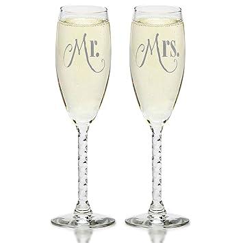 Amazon.com   Mr. & Mrs. Silver Champagne Flutes - Wedding Glasses ...