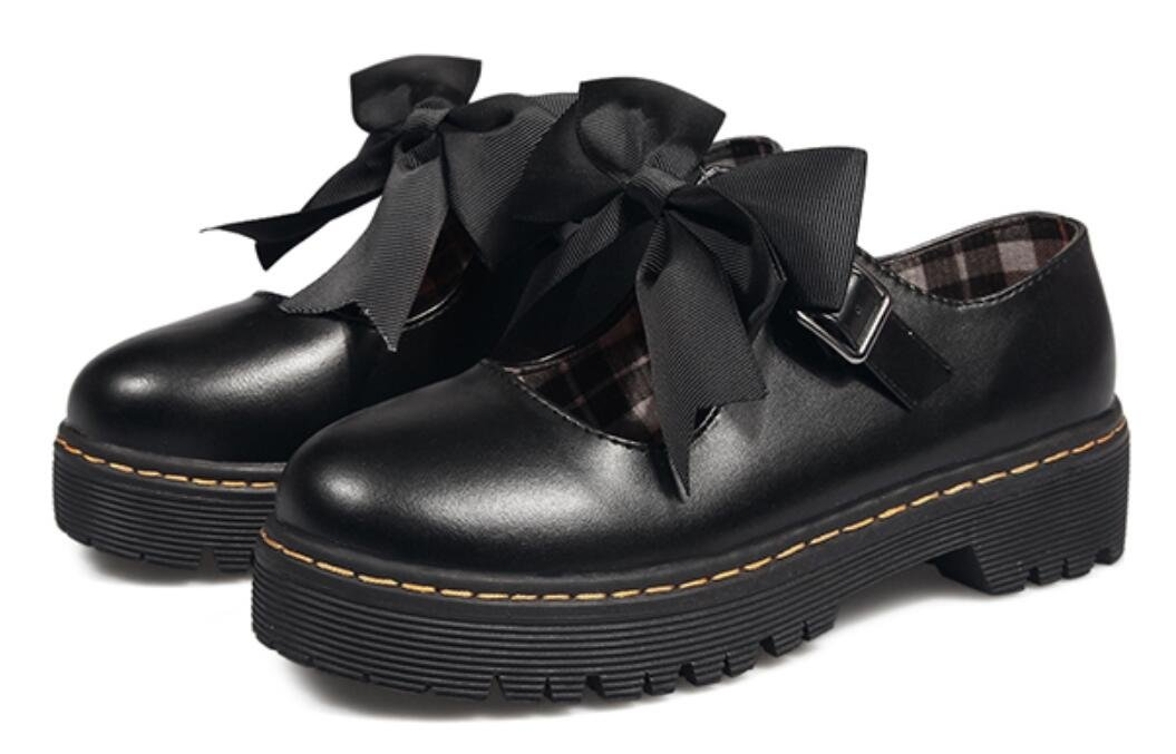 Lolita Shoes for Women, Cute Girls Round-Toe Mid-Heel Platform Oxford Shoes (6, Matte Black)