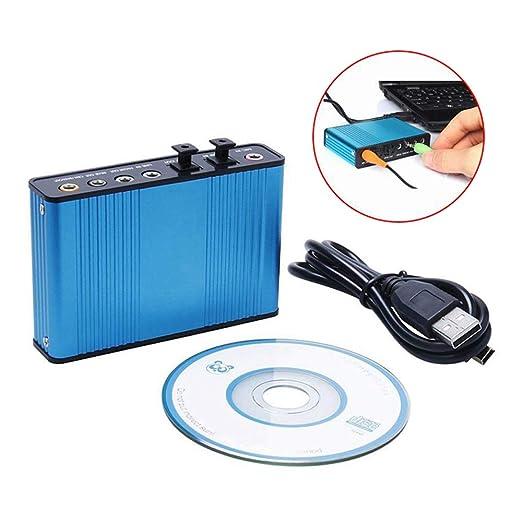 QWERTOUY Tarjeta de Sonido de 6 Canales USB 5.1 Profesional Audio ...