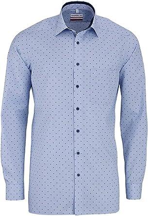 Marvelis - Camisa de corte moderno, manga extralarga New Kent cuello patrón azul azul 43: Amazon.es: Ropa y accesorios