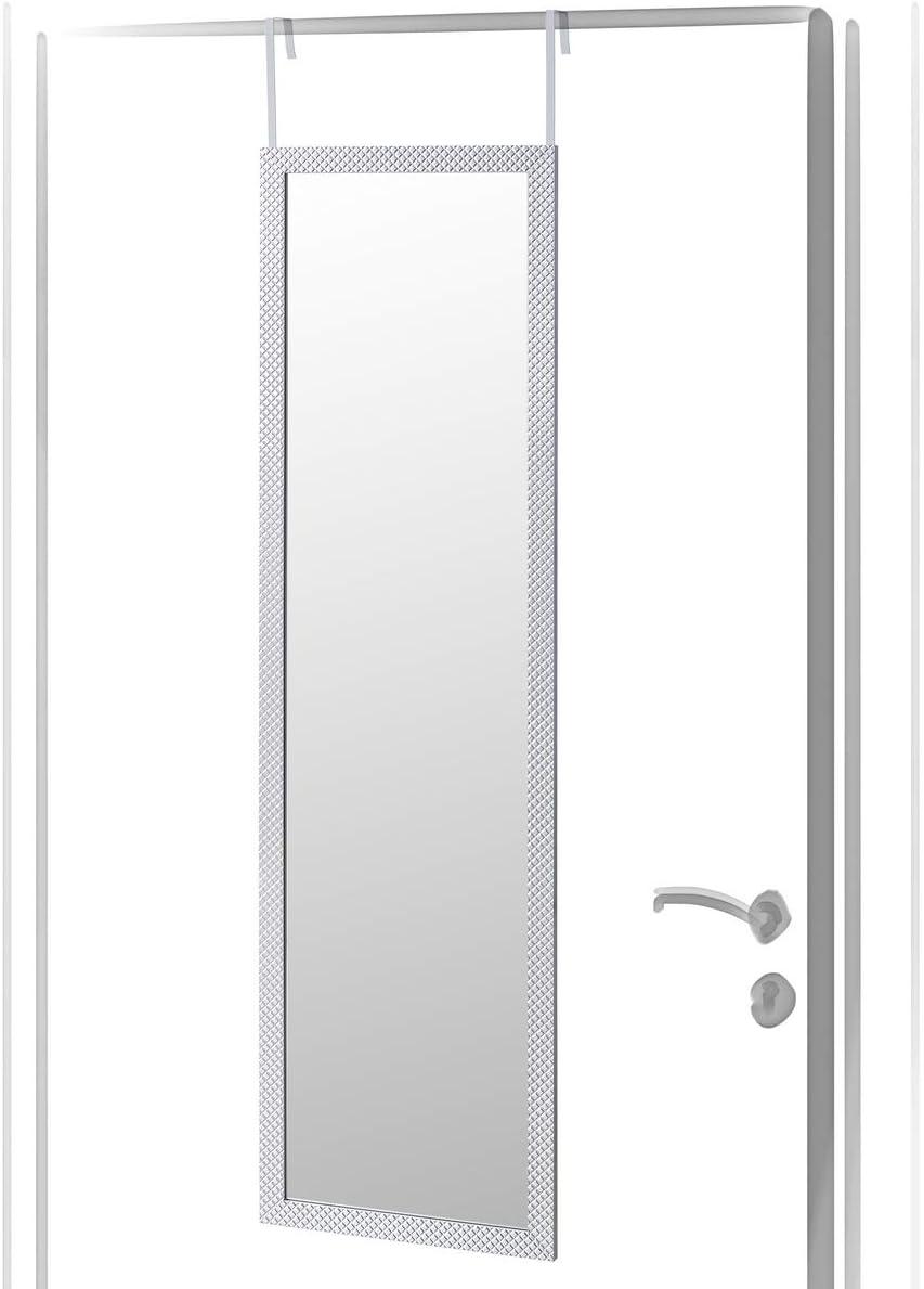 Espejo de Puerta Moderno Plateado de plástico para Dormitorio de 35 x 125 cm Arabia - LOLAhome