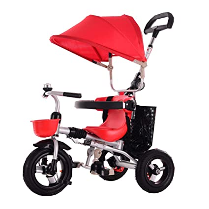 Amazon.com: Collapsible Child Tricycle/Baby Trolleys Carriagel Non-Inflatable Tire for 6 Months to 6 Years Old Seat Can Rotate with Awning and Rear Brake: ...