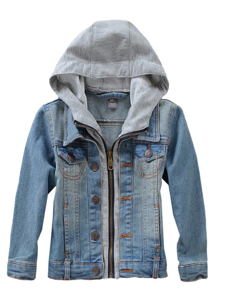 Mallimoda Kids Boys Girls Hooded Denim Jacket Zipper Coat Outerwear Style 2 Blue 7-8 Years by Mallimoda