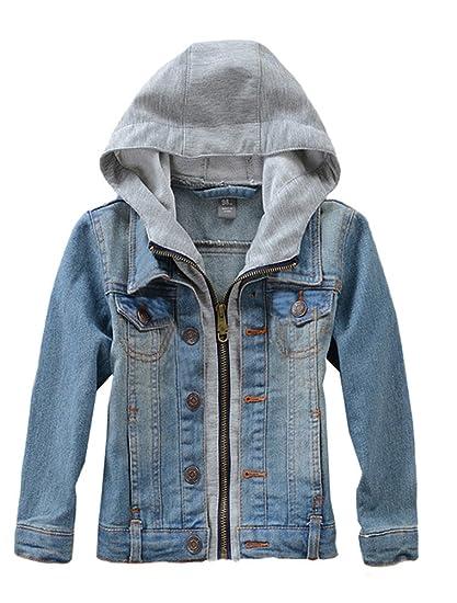 Amazon Com Mallimoda Kids Boys Girls Hooded Denim Jacket Zipper