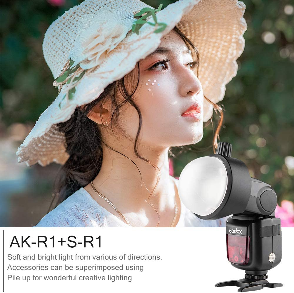 AKR1+SR1 TT600 Series Camera Flash and Canon,Nikon,Sony GODOX AK-R1 Round Head Accessories with S-R1 Adapter Compatible with Godox V860II,V850II,TT685