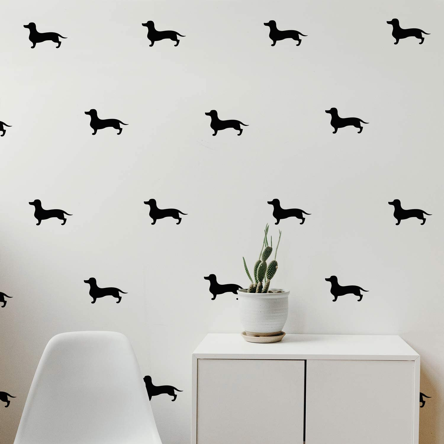 "Set of 12 Vinyl Wall Art Decals - Dachshund Dogs - 3.5"" x 6"" Each - Cool Fun Trendy Cute Wiener Dog Sticker Design for Baby Kids Room Bedroom Playroom School Classroom Nursery Decor"