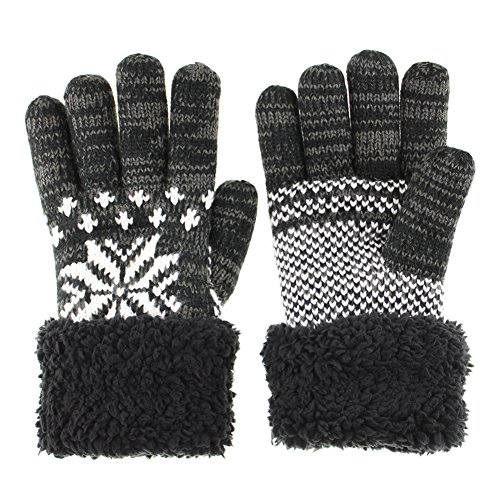 GlovesDEPO Women's Winter Knitted Gloves Thick Knit Warmest Gloves Of Double Structure Mittens Snow Crystal Pattern