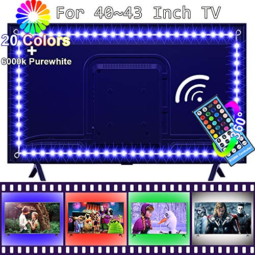 Price comparison product image LED TV Backlight for 40 to 43 Inch Smart TV, FSJEE Pre-Connected RGBW LED Strip TV Bias Light with 40Keys RF Wireless Remote Controller and UL Listed Power Adapter