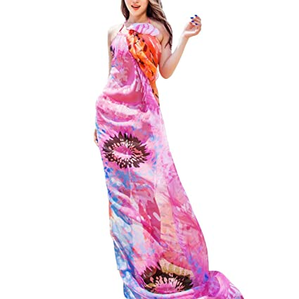 faab1fe3096c1 Hot 140x190cm Robe de Plage Scarf Women Beach Sarongs Beach Cover Up Summer  Chiffon Scarves Geometrical