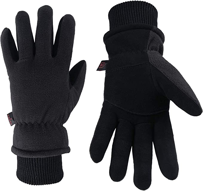 Best Cycling Gloves: OZERO Winter Gloves Deerskin Suede Leather Palm with Big Patch
