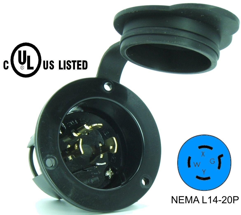 Journeyman Pro 2415 Nema L14 20 Flanged Inlet Generator Wiring Diagram Plug 20a 125 250 Volt Locking Receptacle Socket Black Industrial Grade