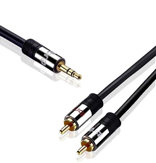 IBRA® 10m - Cable 3.5mm de Audio Estéreo Macho a 2 RCA Macho con Conector Pequeño de Metal | para iPhone6,5S,5, 4S y 4, iPod, iPhone y Samsung | 10 Metros ...
