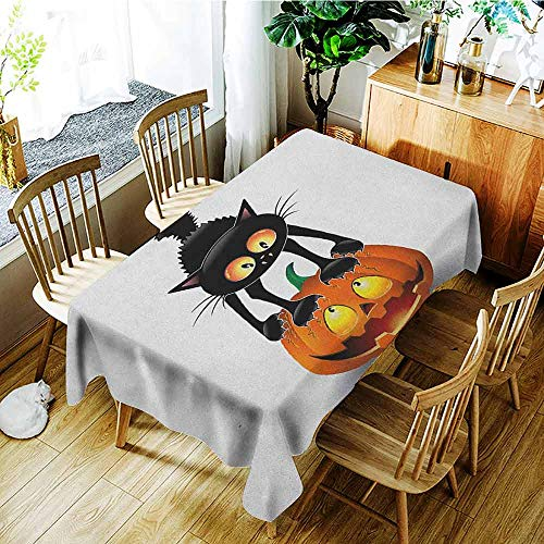 XXANS Rectangular Tablecloth,Halloween,Black Cat on Pumpkin Drawing Spooky Cartoon Characters Halloween Humor Art,Party Decorations Table Cover Cloth,W50x80L Orange Black]()
