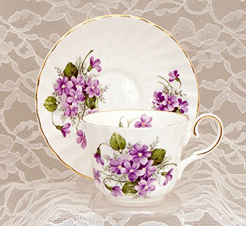 WILD VIOLETS Fine English Bone China Cup and Saucer (Saucer Fine China Bone English)