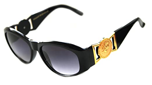 ba7ef05de37 Amazon.com  Men s Hip Hop Metal Gold Coin Logo 413 Medium Sunglasses  Vintage Style Biggie 852 (Black Gold