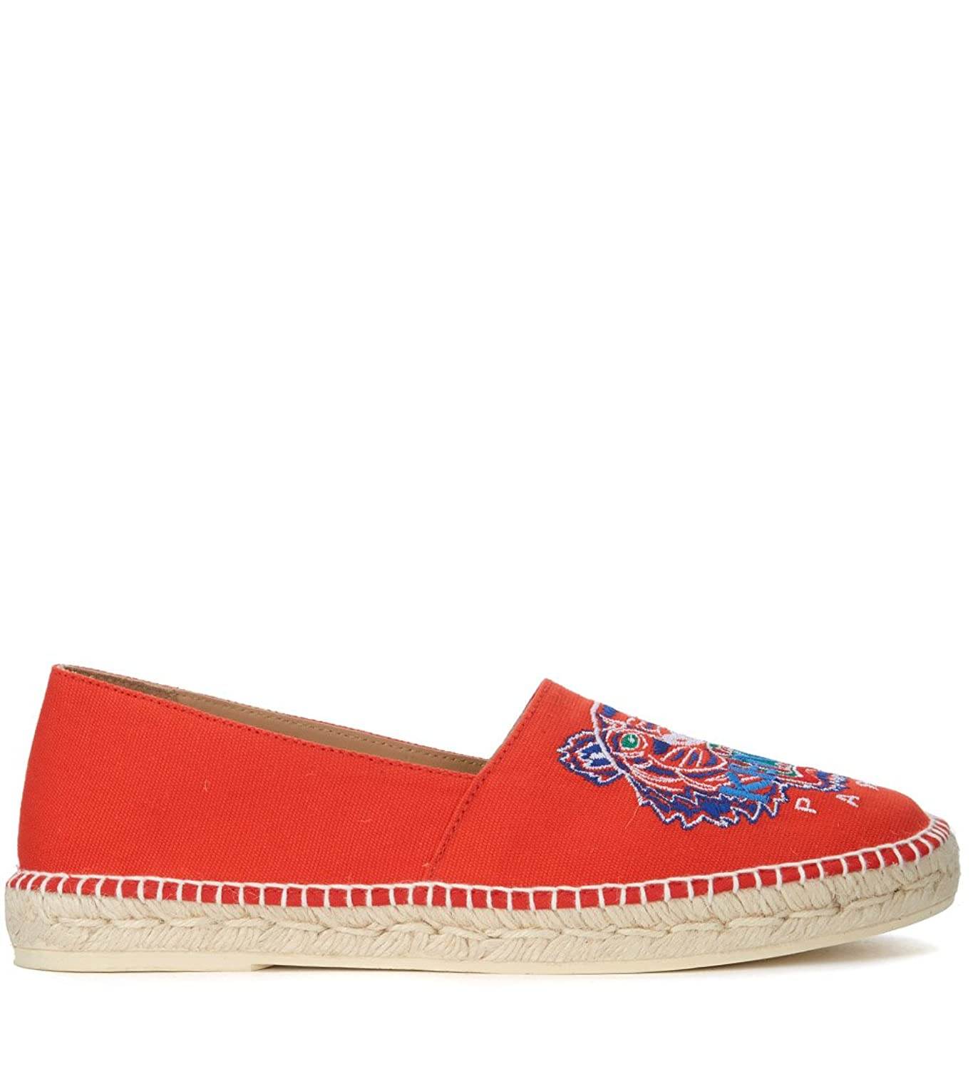 Men's Red Cotton Espadrillas With Tiger