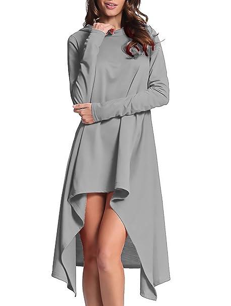 Sudaderas Mujer Con Capucha Largos Tallas Grandes Otoño Sweatshirt Encapuchado De Manga Larga Irregular Suelto De