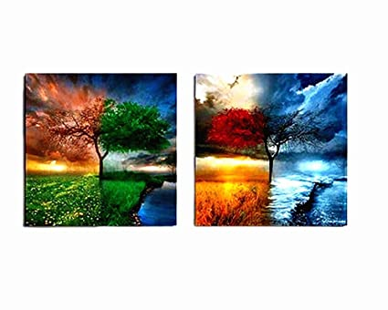 Amazon.com: BERDECIA Small Colorful Natural Landscape Oil Painting ...