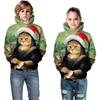 Leezeshaw Kid's 3D Ugly Christmas Dog Cat Sloth Hoodied,Boys Girls Pullover Hoodie